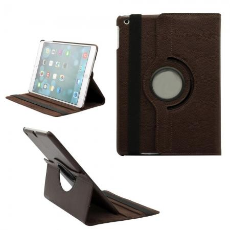 360 Degree Rotating PU Leather Case Cover Swivel Stand for Apple iPad Air - Brown