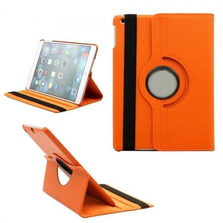 360 Degree Rotating PU Leather Case Cover Swivel Stand for Apple iPad Air - Orange
