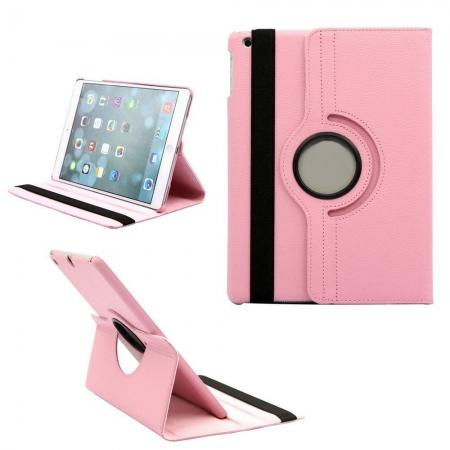 360 Degree Rotating PU Leather Case Cover Swivel Stand for Apple iPad Air - Pink
