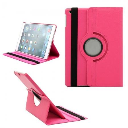 360 Degree Rotating PU Leather Case Cover Swivel Stand for Apple iPad Air - Rose red