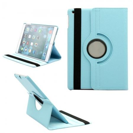 360 Degree Rotating PU Leather Case Cover Swivel Stand for Apple iPad Air - Sky blue
