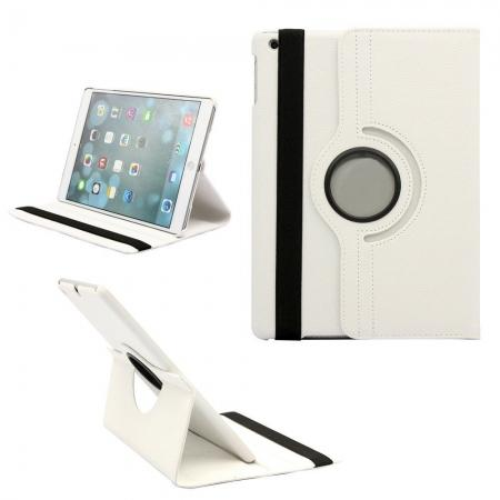 360 Degree Rotating PU Leather Case Cover Swivel Stand for Apple iPad Air - White
