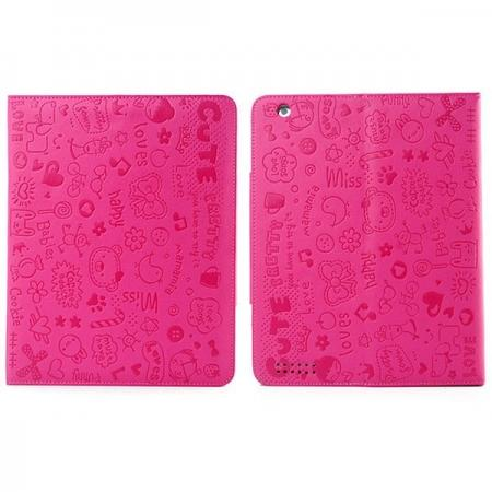 Fashionable Cute cartoon pattern Leather Case for iPad Air - Rose red