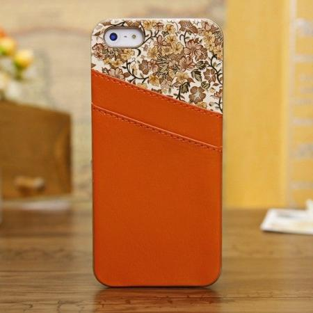 High quality Flower Real Leather Chrome back Case For iPhone 5 5S with ID Credit Card - Orange