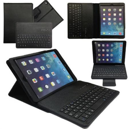 Leather Detachable Bluetooth Keyboard Case with Stand for iPad Air - Black