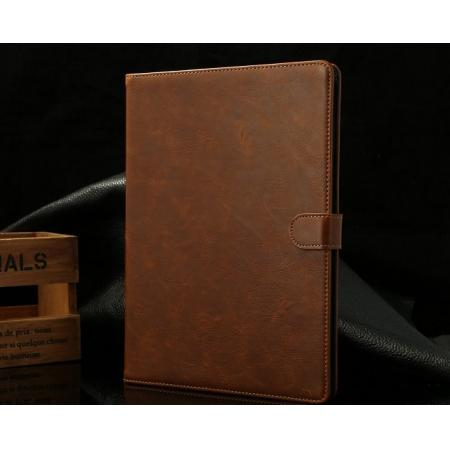 Luxury Crazy Horse Texture Leather Stand Case for iPad Air with Sleep/Wake-up Function & Card Slots - Brown