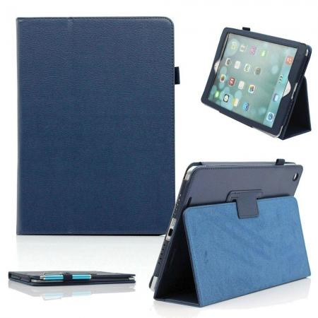 Lychee Folio Folding Slim PU Leather Stand Case Cover For New Apple iPad Air 5 5th Gen - Dark Blue