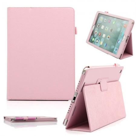 Lychee Folio Folding Slim PU Leather Stand Case Cover For New Apple iPad Air 5 5th Gen - Pink