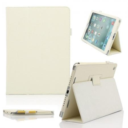 Lychee Folio Folding Slim PU Leather Stand Case Cover For New Apple iPad Air 5 5th Gen - White