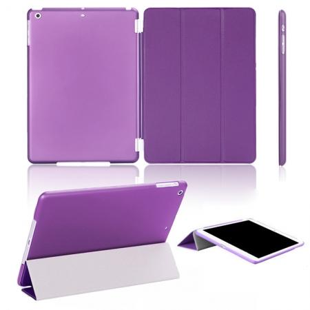 Magnetic Smart Cover Leather + Back Case for iPad Air - Purple