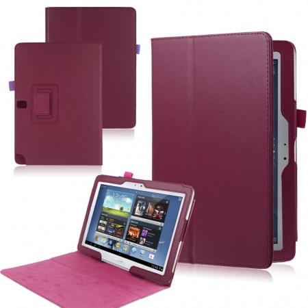 New Lychee Leather Pouch Case With Stand for Samsung Galaxy Note 10.1 P600/P601 2014 Edition - Rose