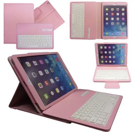 Leather Detachable Bluetooth Keyboard Case with Stand for iPad Air - Pink