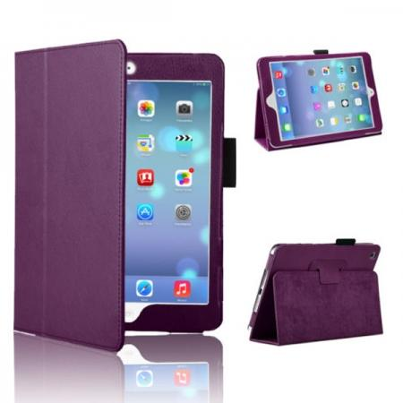 Magnetic PU Leather Smart Cover Case for iPad mini Retina 2 - Purple