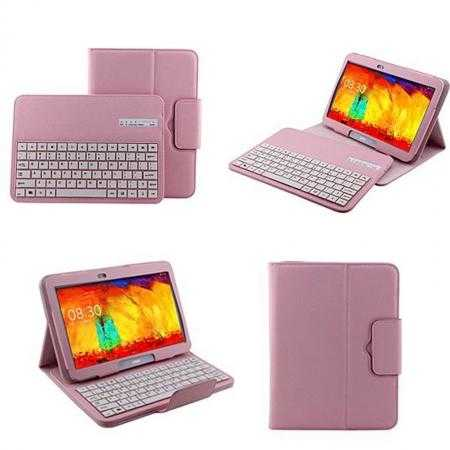 Removable Bluetooth Keyboard Leather Case for Samsung Galaxy Tab Pro 10.1 T520 - Pink