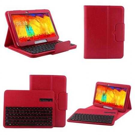 Removable Bluetooth Keyboard Leather Case for Samsung Galaxy Tab Pro 10.1 T520 - Red