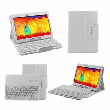 Removable Bluetooth Keyboard Leather Case for Samsung Galaxy Tab Pro 10.1 T520 - White