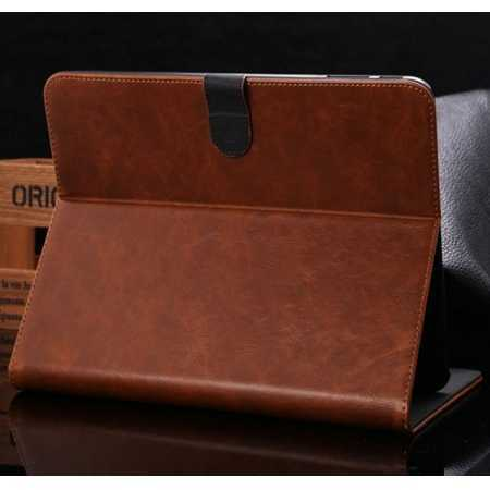 Luxury Crazy Horse Leather Stand Case for Samsung Galaxy Tab 4 10.1 T530 w/ Card Slots - Light Brown