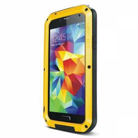 Waterproof Aluminum Gorilla Metal Cover Case For Samsung Galaxy S5 - Yellow