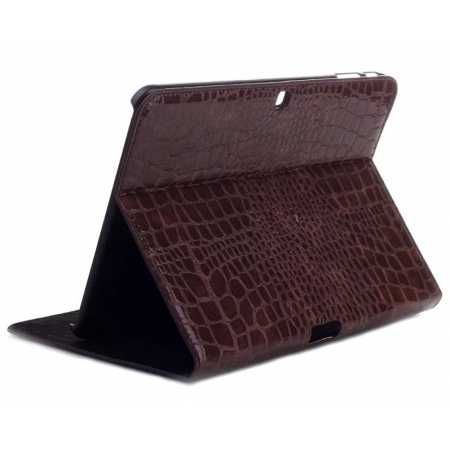Crocodile Pattern Leather Stand Case for Samsung Galaxy Tab 4 10.1 T530 - Brown
