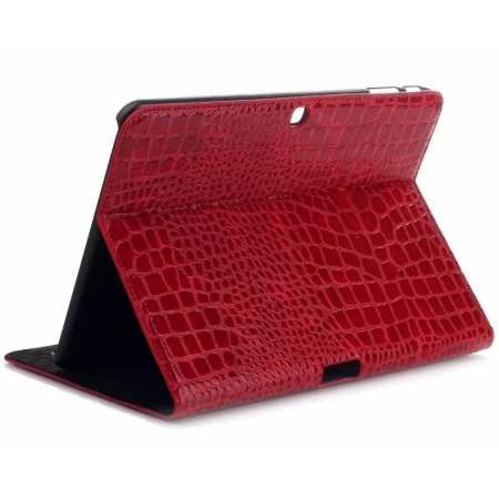 Crocodile Pattern Leather Stand Case for Samsung Galaxy Tab 4 10.1 T530 - Red