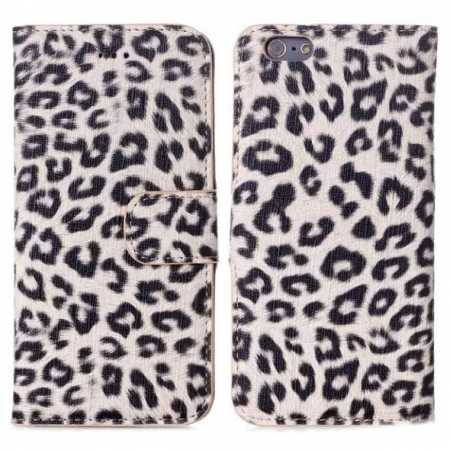 "Leopard Print Leather Folio Stand Wallet Case for iPhone 6/6S 4.7"" - Grey"