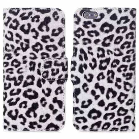 "Leopard Print Leather Folio Stand Wallet Case for iPhone 6/6S 4.7"" - White"