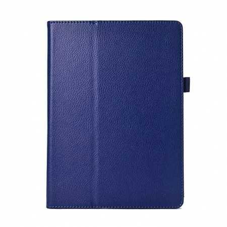 Lychee Leather Stand Fold Folio Case for Samsung Galaxy Tab S 10.5 T800 - Dark blue