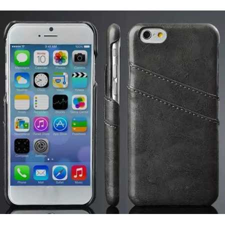 Oil Wax Style Insert Card Leather Back Case Cover for iPhone 6/6S 4.7 Inch - Dark Grey