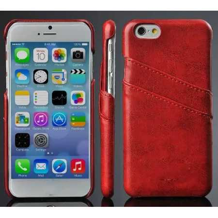 Oil Wax Style Insert Card Leather Back Case Cover for iPhone 6/6S 4.7 Inch - Red