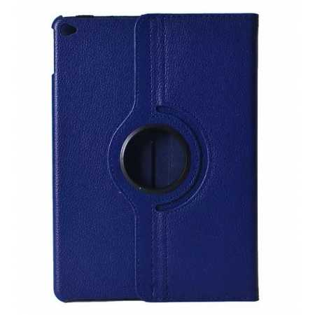 360°Rotatable Litchi Pattern Leather Stand Case For iPad Air 2 - Dark blue