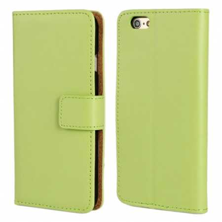 Genuine Leather Wallet Flip Case Cover For iPhone 6 Plus/6S Plus 5.5inch - Green