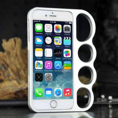 Aluminum Metal Knuckle Ring Bumper Case Frame Protector For iPhone 6/6S 4.7 Inch - Silver