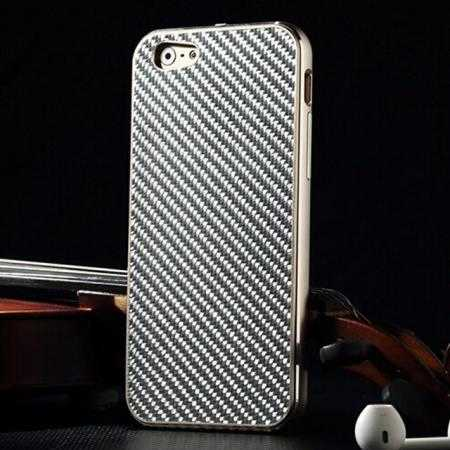 Aluminium Metal Bumper + Carbon fiber back cover case For iPhone 6/6S 4.7inch - Champagne/Silver