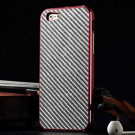 Aluminium Metal Bumper + Carbon fiber back cover case For iPhone 6/6S 4.7inch - Red/Silver