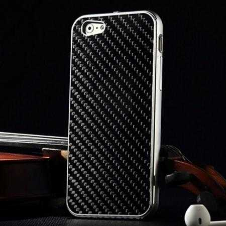 Aluminium Metal Bumper + Carbon fiber back cover case For iPhone 6/6S 4.7inch - Silver/Black