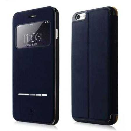 BASEUS View Window Leather Flip Case for iPhone 6 4.7 inch With Smart Sliding Function - Dark Blue