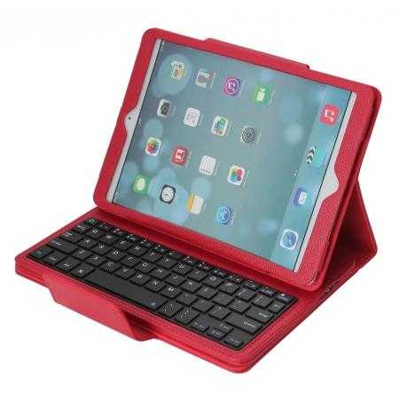Detachable Bluetooth Wireless Keyboard Leather Case With stand for iPad air 2 - Red