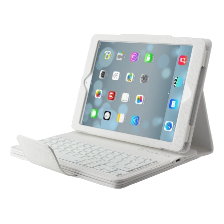 Detachable Bluetooth Wireless Keyboard Leather Case With stand for iPad air 2 - White