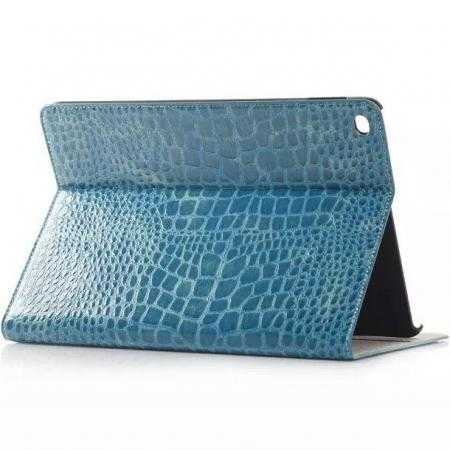 High quality Crocodile Skin Leather Stand Case for iPad Air 2 - Blue