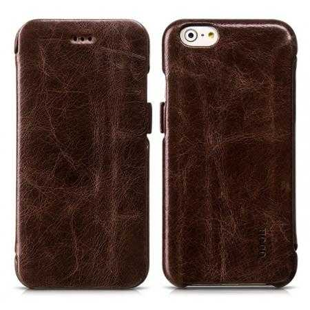 HOCO General Series Genuine Oil Waxed Side Flip Leather Case for iPhone 6 4.7inch - Coffee