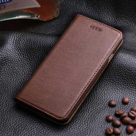 Luxury Genuine Real Leather Flip Wallet Case Cover For iPhone 6/6S 4.7 inch - Dark Brown