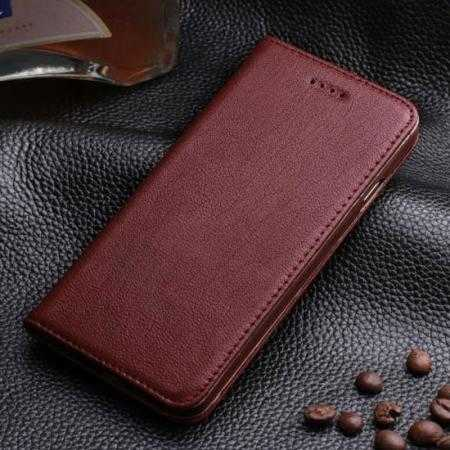 Luxury Genuine Real Leather Flip Wallet Case Cover For iPhone 6/6S 4.7 inch - Wine Red