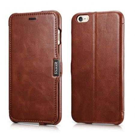 Luxury ICARER Vintage Series Cowhide Genuine Leather Wallet Case For iPhone 6 Plus/6S Plus 5.5 Inch - Brown