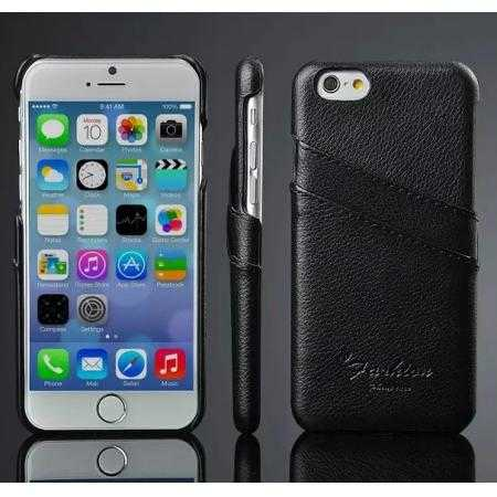 Litchi Genuine Leather Card Holder Hard Back Case Cover for iPhone 6 Plus/6S Plus 5.5 Inch - Black
