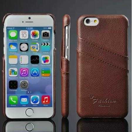 Litchi Genuine Leather Card Holder Hard Back Case Cover for iPhone 6 Plus/6S Plus 5.5 Inch - Brown