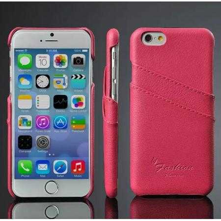 Litchi Genuine Leather Card Holder Hard Back Case Cover for iPhone 6 Plus/6S Plus 5.5 Inch - Rose