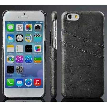 Oil Wax Leather Credit Card Holder Back Shell Case Cover for iPhone 6 Plus/6S Plus 5.5 Inch - Black