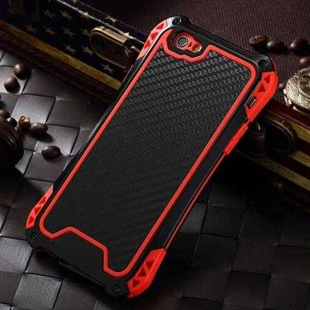 Shockproof Aluminum metal Cover Case With Tempered Glass Screen For iPhone 6S 4.7inch - Black/Red