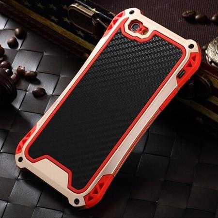Shockproof Aluminum metal Cover Case With Tempered Glass Screen For iPhone 6S 4.7inch - Champagne/Red