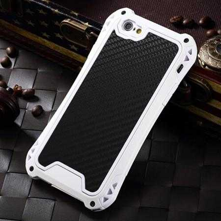 Shockproof Aluminum metal Cover Case With Tempered Glass Screen For iPhone 6S 4.7inch - White